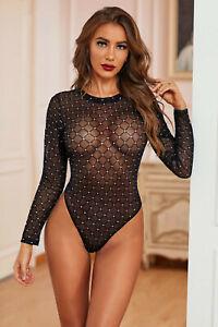 Body Black Transparent Thong Long Sleeves Diamonds Glitter Sexy Glamour
