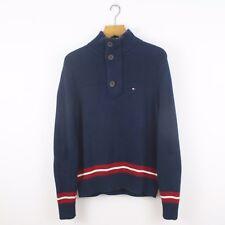 Vintage TOMMY HILFIGER Navy Blue 1/4 Zip Button Knitted Sweatshirt Jumper | XS