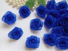 """1 """" Royal Blue Organza Ribbon Roses Appliques-Lots 50 Pcs (R0082DR)"""