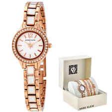 Anne Klein White Dial Rose Gold-tone Ladies Watch and Bracelet Set AK/3396WRST