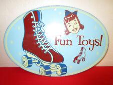 "Vintage metal plaque wall decor 50s style. ""Fun Toys"""