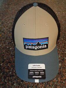 Patagonia P-6 Logo Lopro Snapback Trucker Hat Khaki / Gray Adjustable OSFM NWT
