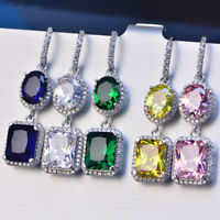 925 Silver Shiny Emerald/Oval Sapphire CZ Drop/Dangle Earrings Jewelry 5 Color