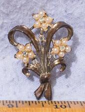 Vintage Pearl Rhinestone Brooch Pin mv