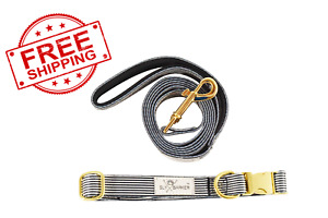 Black White Stripe Dog Pet Leash and Color Set Gold Hardware Medium Small Large