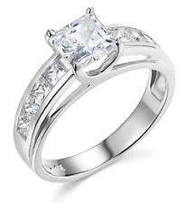 3 Ct Princess Brilliant Cut Engagement Wedding Ring Trellis Real 14K White Gold