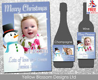Personalised Christmas Wine Champagne Bottle Label Teacher Mum Sister Nan Gift