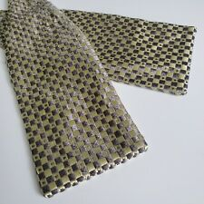 A9) CHARVET GRAY, GEOMETRIC 100% SILK BOWTIE MADE IN FRANCE