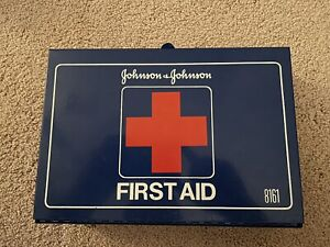 Vintage Johnson and Johnson First Aid Kit Blue Metal Box #8161 Wall Mount