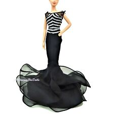 Barbie Fashion 40th Anniversary Collector Edition Black Sliver Gown Tights Shoes