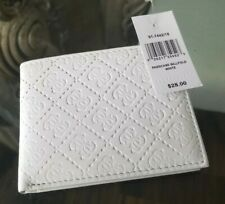 New GUESS Genuine Leather Bi-Fold Wallet in White