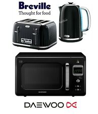 Breville Impressions Black Kettle and Toaster Set & Daewoo Retro Microwave New
