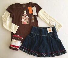 NWT Gymboree Winter Cheer 5 5T Gingerbread Castle Tee Denim Skort Skirt & Tights