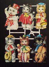 Poesiebilder, Oblaten, Glanzbilder, musizierende Katzen