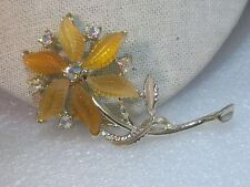 "Vintage Butterscotch Split Leaf Rhinestone Floral Brooch, 3"", A.B. Accents"