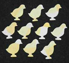 10 PRIMITIVE ANTIQUE CUTTER QUILT BABY CHICKS! LOOK!! 2 TONE YELLOW & WHITE