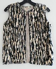 Vintage 60s VALENTINA LTD Black Beige Wool Sequin Women Dressy Jacket Vest, XS-S