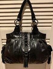 Large Black Boho Studded Leather Tote Shoulder Bag