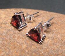 Sterling silver everyday cut 6x6mm GARNET STUD earrings. Gift bag.