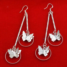 STUNNING  SILVER PLATED DOUBLE BUTTERFLY DROP EARRINGS - 3-1/4 INCHES LONG