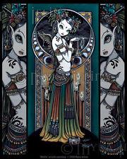 Tribal Fusion Angel Storm Dancer Melita Myka Ltd Ed Signed CANVAS Embellished