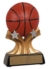"full color Basketball resin award trophy w/ engraving, 5"" tall, boys or girls"