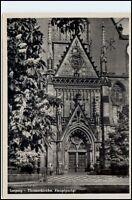 LEIPZIG 1954 DDR Bedarfspost-AK Postkarte Portal Kirche Thomaskirche gebraucht