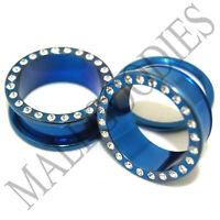 """0897 Blue Steel Screw-on/fit CZ Flesh Tunnels 1"""" One Inch Ear Plugs 25mm"""