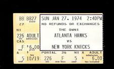 Basketball Ticket Atlanta Hawks 1974 NY Knicks 1/27 Pete Maravich