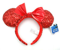 Disney Park Minnie Mouse Ears Cute Mickey Red Bow Sequins Festival Cos Headband