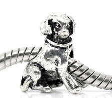 3D Silver Tone Labrador Dog Puppy Pet European Slider Bead Charm fits Bracelets
