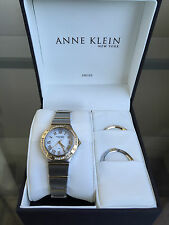 NIB ANNE KLEIN New York Two Tone Interchangeable Bezel Swiss Ladies Watch $250
