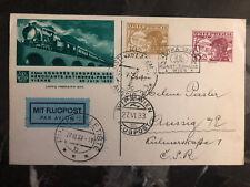 1933 Vienna Austria Postcard Cover To Aussig Czechoslovakia WIPA conference