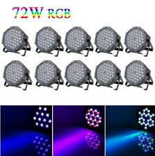 10 x 36 Led Stage Lights Rgb Par Can Flat Dmx512 Dj Disco Bar Uplighter Lighting