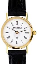 Ladies 9ct Gold Wristwatch with Roman Numerals - Black Leather Strap - Gift Box