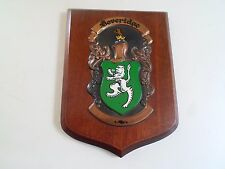 Good Vintage Wooden Wall Hanging Plaque BEVERIDGE Scottish Family Coat of Arms