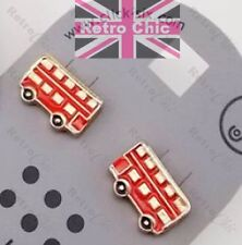 Quirky London Bus Tachuelas Rojo/Oro Pendientes de Moda Retro Equipo de GB, Inglaterra, Reino Unido