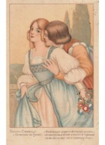 1922 Augusto Cavazzoni cartolina innamorati Cappello De Medici amori cele