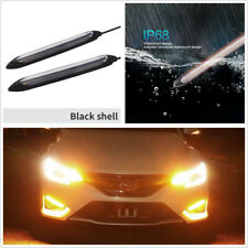 2x 6.1in Sequential Flow Amber Turn Signal White DRL Strip Universal Fit For Car