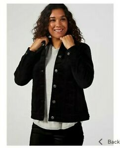 Denim & Co. Button Front Velveteen Jacket With Pockets Black 2XL RRP £48