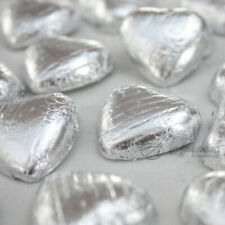 SILVER Foil Wrapped Milk Chocolate Hearts Table Favours Weddings Party Sweets