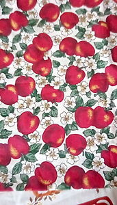 Vintage Cotton Fabric- Red apples White Apple Blossoms  44 x 44