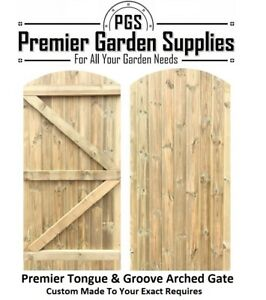 Bespoke Custom Made To Measure Wooden Garden Gate/Tongue & Groove Arch Top