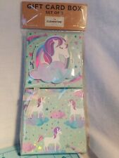 Clementine Paper - Unicorn Theme Gift Card Box Set in Pastel Colors, Brand New