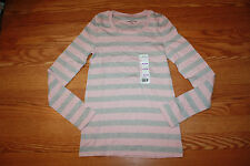 New Womens EDDIE BAUER L/S Heather Gray Desert Pink Striped Shirt Scoop Neck S