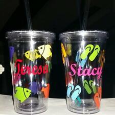 PERSONALIZED Plastic 16 oz travel tumbler cup with lid & straw! Create your own!