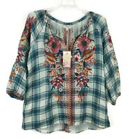 Johnny Was Embroidered Plaid Peasant Top Women's Size XS Floral Back Slit NWT