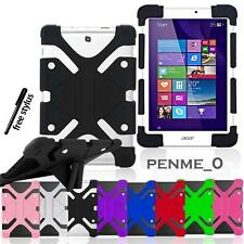 """For 7"""" 8"""" Acer Iconia Tab New Shockproof Soft Silicone Stand Cover Case + Stylus"""