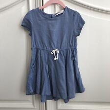 H&M Baby Toddler Girl Blue Short Sleeve Dress 18-24 Months 1 1/2-2Y