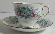 Colclough Bone China Cup and Saucer Pattern #6632 Floral Spray Gold Trim